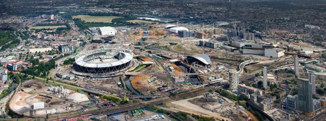 London 2012 Olympic Park contruction. Ironworks development highlighted in red.