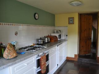 Kitchen with access to back garden, gas hob, electric double oven, microwave and washing machine