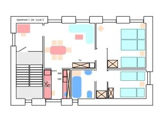 Plan of apartment 1, 2br, Level 2, 55 € / N for 2 guests