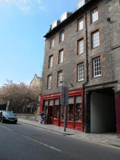 The front of the apartments on the Royal Mile