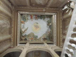 under this breath-taking  frescoes ....
