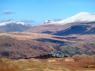 Boot (circled) in Winter beneath snowcapped Scafell