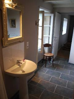 Charming bathroom with far reaching views.