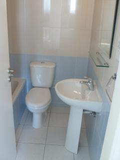 One of the ensuite bathrooms with shower and bath.