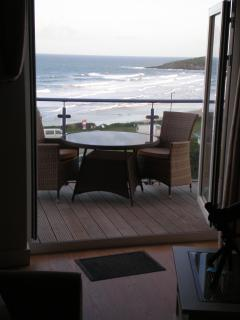 View from sofa out to balcony & Fristral