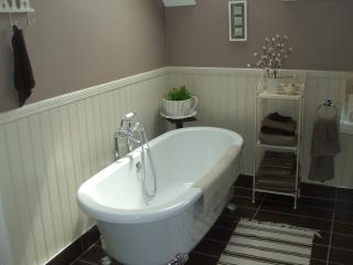 Relax in the tub in luxury bathroom with walk in shower