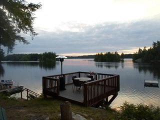 View from cottage looking at deck and islands