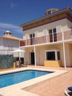 patio, garden, front view of the villa