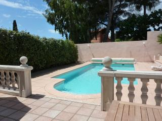 pool area leading from house terrace and outside seating area. Plenty of sun beds too.