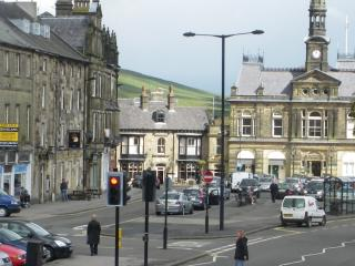 view over buxton market square from lounge bay window