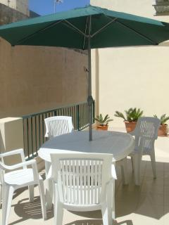 Spacious private back terrace, seating for 6 persons