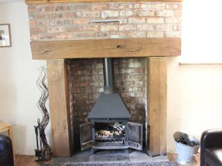 Wood burning stove in oak fireplace