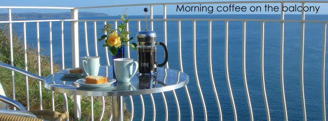 Morning coffee overlooking Start bay