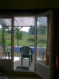 View of the terrace from inside the gite