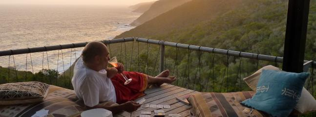Enjoying sundowners on sea deck