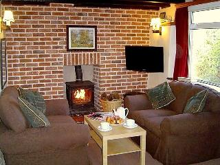One end of the lounge with the cosy log fire and coffee table