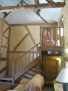 Handmade oak staircase to Main Bedroom, from the Sitting Room