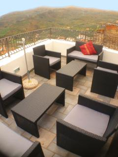 Comfortably Furnished Roof Terrace with panoramic views.