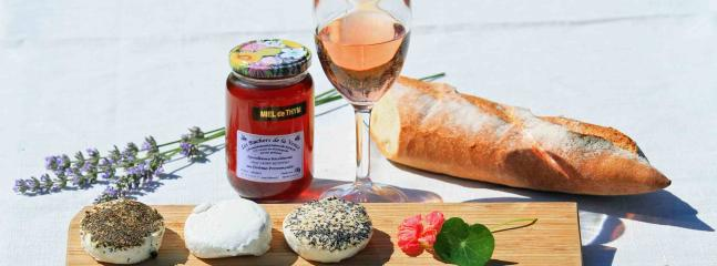 The local cheese, wine and honey