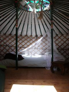 Meadow yurt interior has a double bed. It is also possible to add a small bed for child.