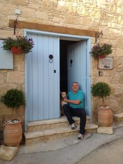 Entrance with Owner Hugh and Casper