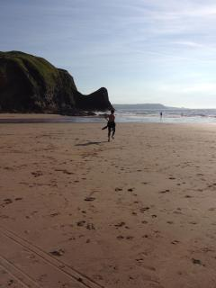 Surfing at Llangranog Beach - 30 minutes away