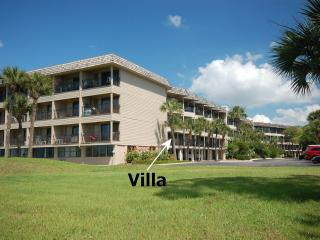 View of villas from edge of beach. Our unit is on first floor, one in from oceanfront