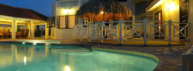 Panorama of pool night time.