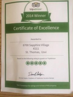 Award Winner! 2014 TripAdvisor (based on perfect review score)