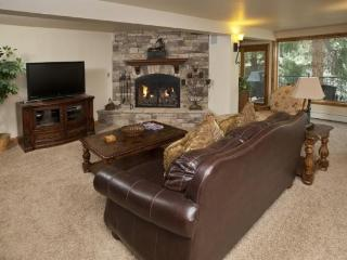 This 3 bedroom Vail vacation home sits along scenic Gore Creek in peaceful wooded surroundings.