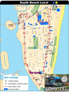 Here's all the stops the 'South Beach Local Bus' makes for only 25 cents!