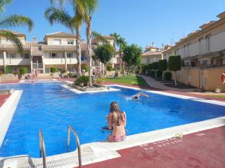 The swimming pools with the house in the background, just 20 seconds away