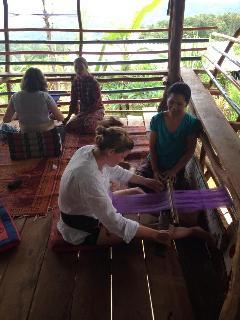 Karen weaving class at the bungalows