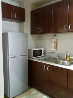 Kitchen, refrigerator & microwave view