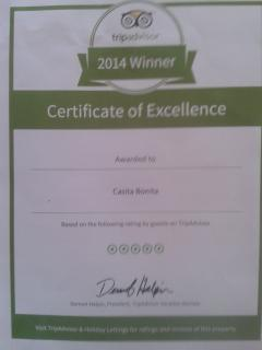 TripAdvisor award for La Casita Bonita, also advertised on Holiday lettings.Checkout our reviews:)