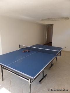 Table tennis in basement