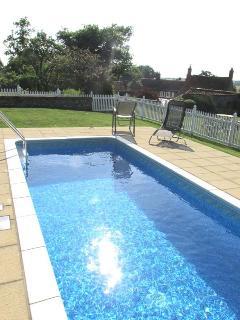 Heated pool in garden