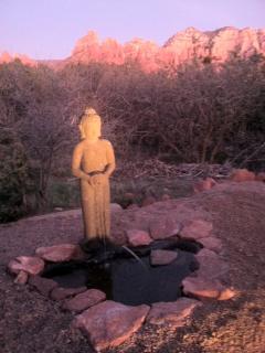 Buddha fountain at sunset