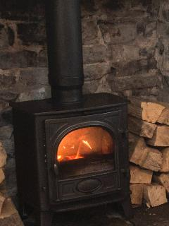 Relaxing evening in front of the wood burner