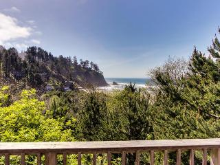 Ocean view home w/ two decks, beach access, & cozy fireplace
