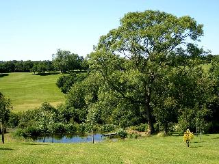 View from parking area over the pond and golf course
