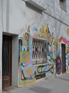 Entrance with graffiti by artists in building!