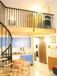 Entire apartment is here: living with kitchen area, stairs and bedroom on 1 floor