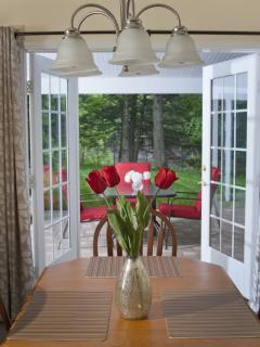 French doors from dining area to patio