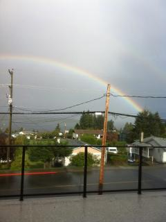 Rainbow over the harbour from front yard