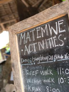 Matemwe Beach House - Activities Board