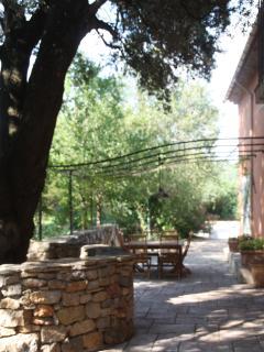 La terrasse couverte de sa pergola pour les déjeuners en exterieur