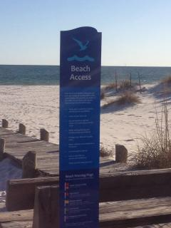 Beach access with free parking and shower