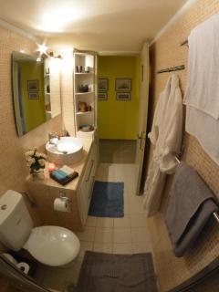 Bathroom with all the facilities  bathrobes, bath and sea towels ,hair drier