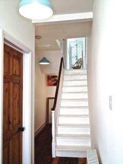 original 1850s white painted private staircase up to your bathroom and bedrooms